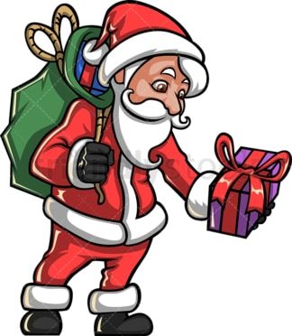Santa claus leaving gifts. PNG - JPG and vector EPS file formats (infinitely scalable).