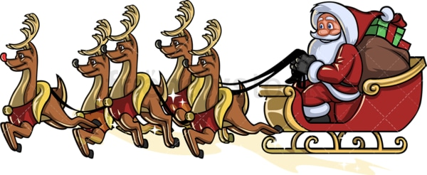 Santa claus riding sleigh with reindeers. PNG - JPG and vector EPS file formats (infinitely scalable).