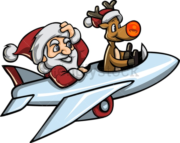 Santa and rudolph flying an airplane. PNG - JPG and vector EPS file formats (infinitely scalable).