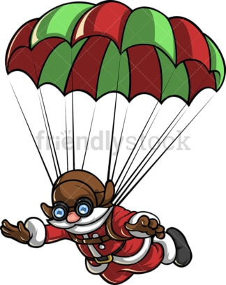 Skydiving santa claus with parachute. PNG - JPG and vector EPS file formats (infinitely scalable).