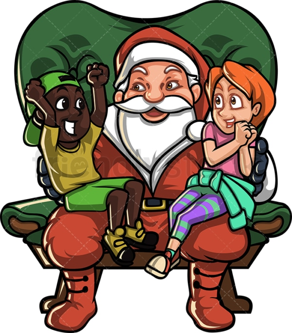 Kids sitting on santa's lap. PNG - JPG and vector EPS file formats (infinitely scalable).