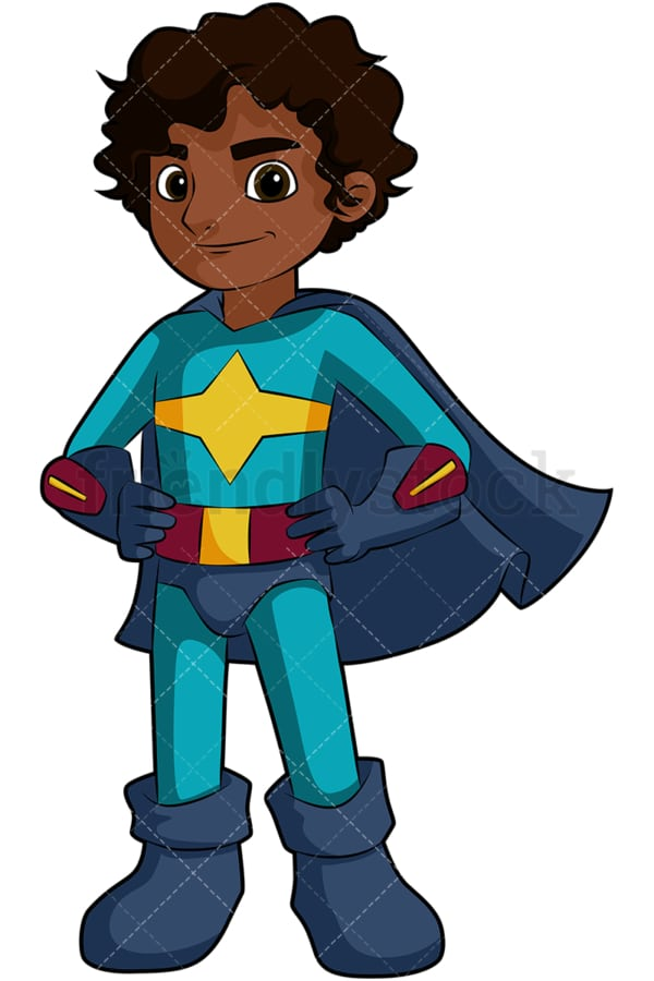 Black boy superhero. PNG - JPG and vector EPS file formats (infinitely scalable). Image isolated on transparent background.