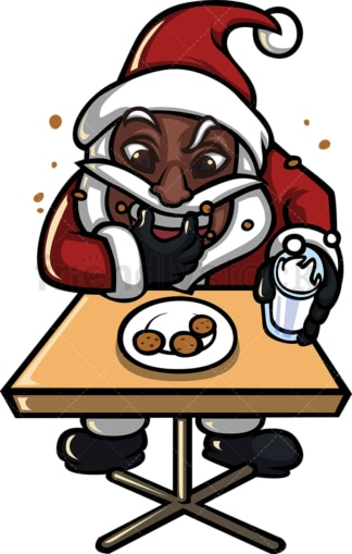 Black santa claus devouring milk and cookies. PNG - JPG and vector EPS (infinitely scalable).