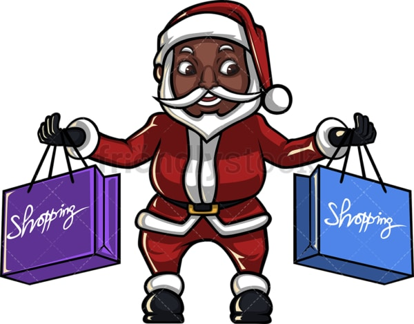 Black santa claus holding shopping bags. PNG - JPG and vector EPS (infinitely scalable). Image isolated on transparent background.