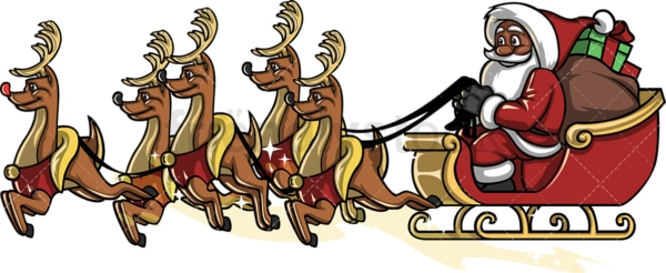 Black santa claus riding sleigh. PNG - JPG and vector EPS file formats (infinitely scalable). Image isolated on transparent background.