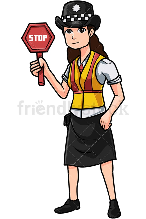 British policewoman holding stop sign. PNG - JPG and vector EPS file formats (infinitely scalable). Image isolated on transparent background.
