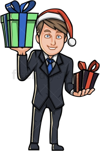 Businessman with christmas hat and gifts. PNG - JPG and vector EPS file formats (infinitely scalable).