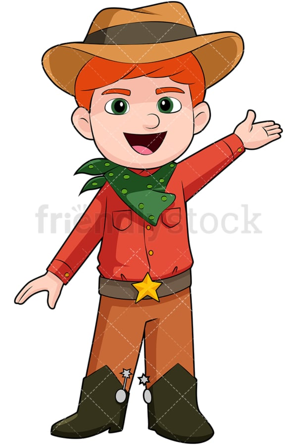 Boy wearing cowboy costume. PNG - JPG and vector EPS file formats (infinitely scalable). Image isolated on transparent background.