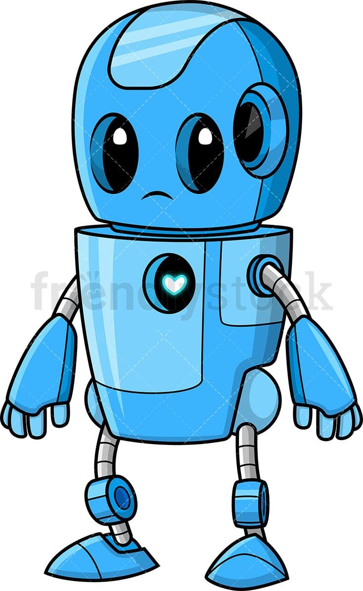 Cute Blue Robot Cartoon Clipart Vector - FriendlyStock