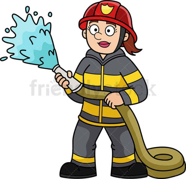 Female firefighter. PNG - JPG and vector EPS (infinitely scalable).