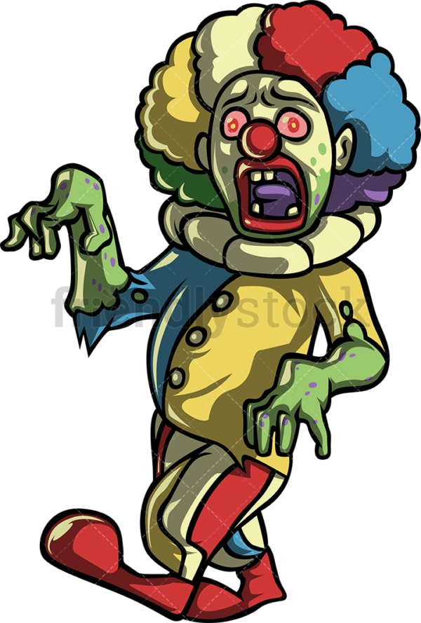 Creepy scary clown zombie. PNG - JPG and vector EPS (infinitely scalable).