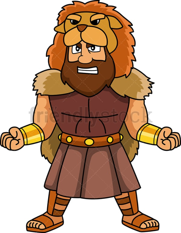 Hercules wearing lion hide. PNG - JPG and vector EPS file formats (infinitely scalable). Image isolated on transparent background.