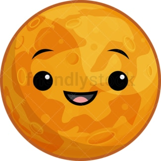 Kawaii planet mercury. PNG - JPG and vector EPS (infinitely scalable).