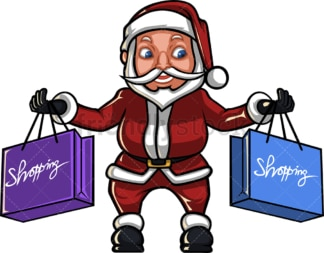 Santa claus holding shopping bags. PNG - JPG and vector EPS (infinitely scalable). Image isolated on transparent background.