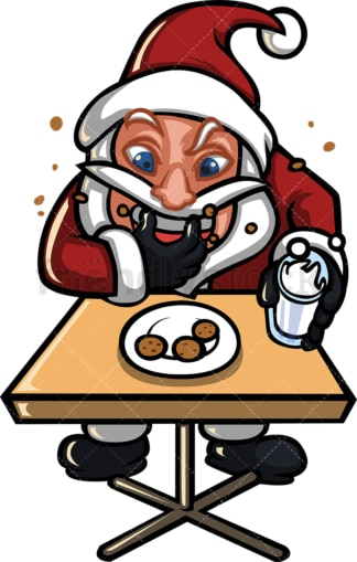 Santa claus stuffing cookies in his mouth. PNG - JPG and vector EPS (infinitely scalable).