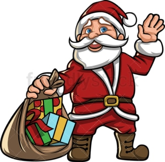 Santa claus with open gift bag. PNG - JPG and vector EPS file formats (infinitely scalable).