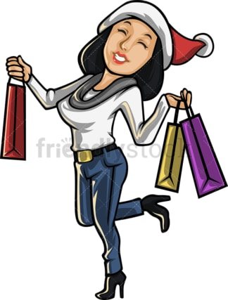 Cheerful woman going christmas shopping. PNG - JPG and vector EPS file formats (infinitely scalable).