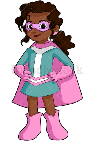 Black little girl superhero. PNG - JPG and vector EPS file formats (infinitely scalable). Image isolated on transparent background.