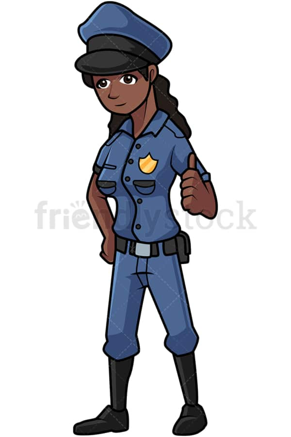 Black policewoman giving the thumbs up. PNG - JPG and vector EPS file formats (infinitely scalable). Image isolated on transparent background.