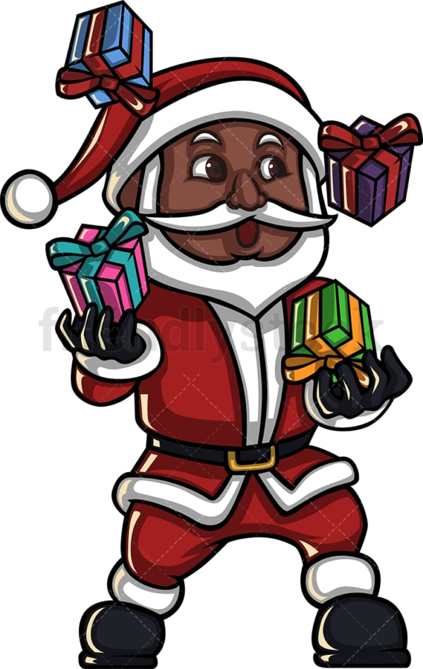 Black santa claus juggling with presents. PNG - JPG and vector EPS (infinitely scalable). Image isolated on transparent background.
