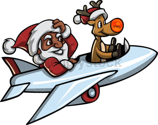 Black santa claus and rudolph flying a plane. PNG - JPG and vector EPS file formats (infinitely scalable). Image isolated on transparent background.
