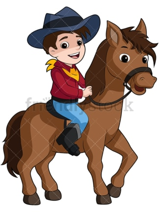 Kid Cowboy riding pony horse. PNG - JPG and vector EPS file formats (infinitely scalable). Image isolated on transparent background.