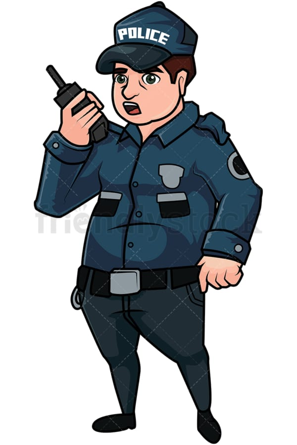 Chubby cop talking on radio. PNG - JPG and vector EPS file formats (infinitely scalable). Image isolated on transparent background.