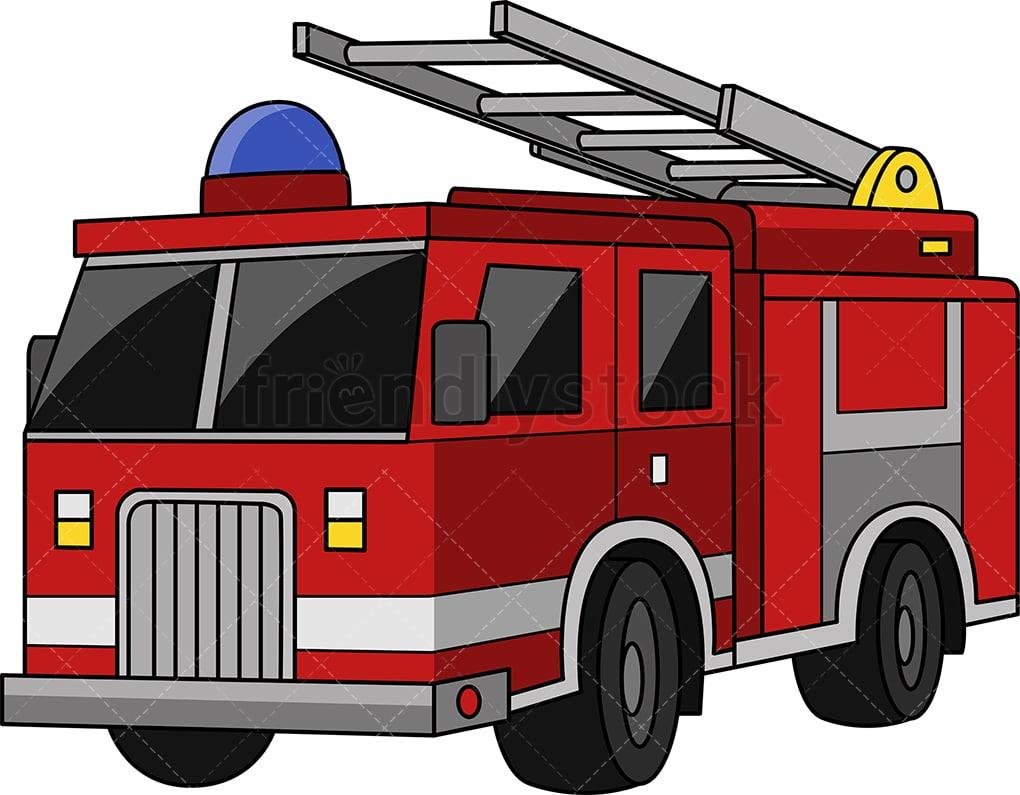 Fire Truck Cartoon Clipart Vector - FriendlyStock