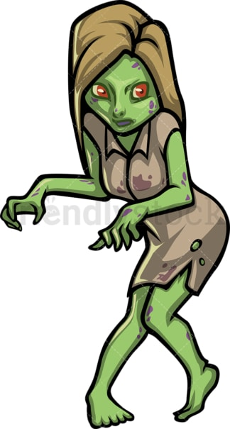 Scary young female zombie. PNG - JPG and vector EPS (infinitely scalable).