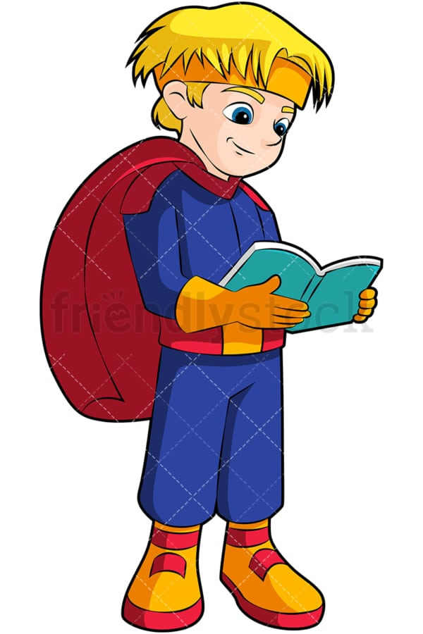 Little boy superhero reading book. PNG - JPG and vector EPS (infinitely scalable). Image isolated on transparent background.