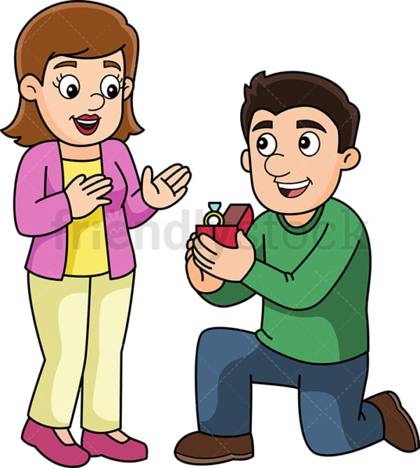 Couple getting engaged. PNG - JPG and vector EPS (infinitely scalable).
