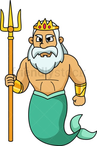 Poseidon with trident. PNG - JPG and vector EPS file formats (infinitely scalable). Image isolated on transparent background.