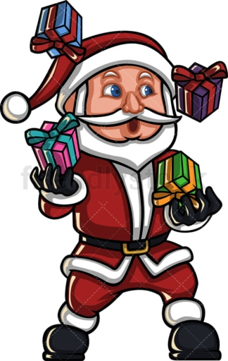 Santa claus juggling with gift boxes. PNG - JPG and vector EPS (infinitely scalable). Image isolated on transparent background.