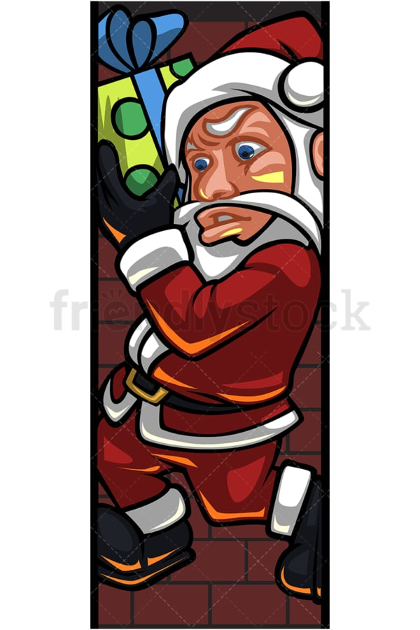 Silly santa claus stuck in chimney. PNG - JPG and vector EPS (infinitely scalable).