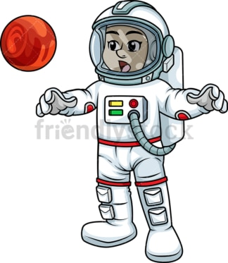Astronaut examining alien object. PNG - JPG and vector EPS (infinitely scalable).