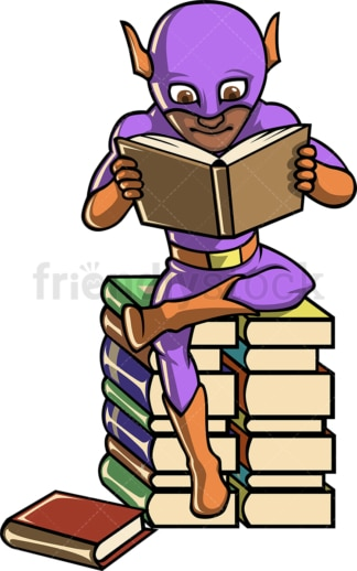 Black superhero reading books. PNG - JPG and vector EPS (infinitely scalable).