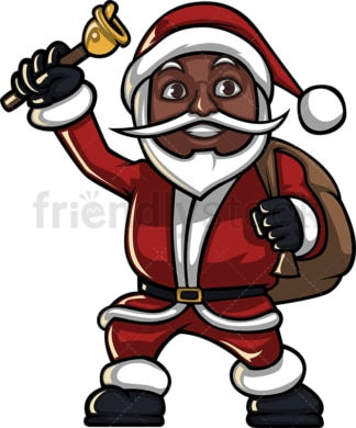 Black santa claus ringing christmas bell. PNG - JPG and vector EPS (infinitely scalable). Image isolated on transparent background.