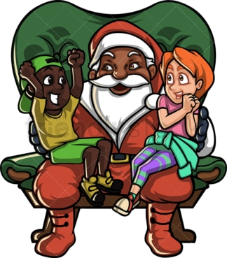 Black santa claus with children on his lap. PNG - JPG and vector EPS file formats (infinitely scalable). Image isolated on transparent background.