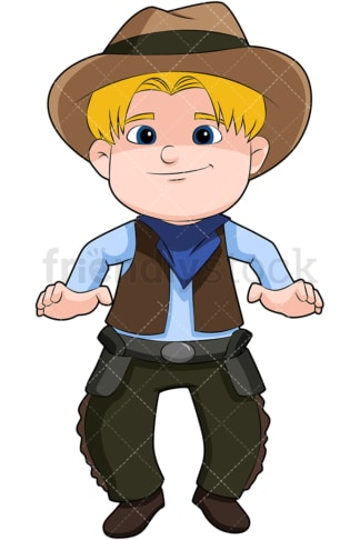 Blond kid cowboy. PNG - JPG and vector EPS file formats (infinitely scalable). Image isolated on transparent background.