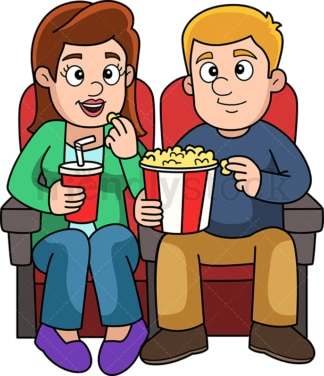Man and woman on a date to the movies. PNG - JPG and vector EPS (infinitely scalable).