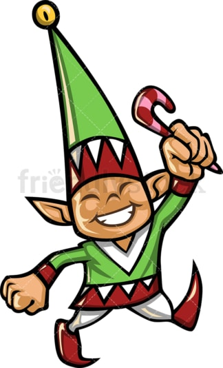 Male christmas elf holding candy. PNG - JPG and vector EPS file formats (infinitely scalable).