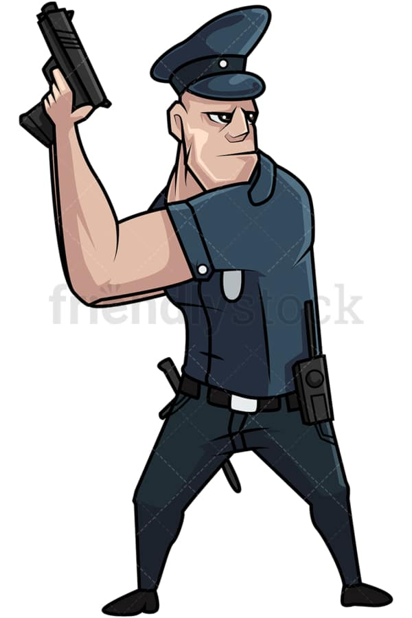 Policeman pulling his gun. PNG - JPG and vector EPS file formats (infinitely scalable). Image isolated on transparent background.