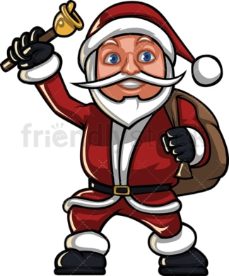 Short santa claus ringing christmas bell. PNG - JPG and vector EPS (infinitely scalable). Image isolated on transparent background.