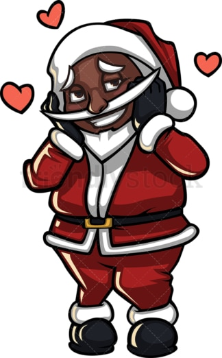 Shy black santa claus in love. PNG - JPG and vector EPS (infinitely scalable).
