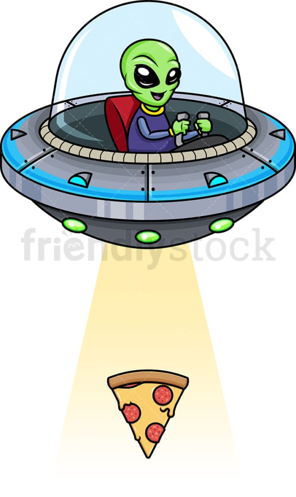 Alien kidnapping pizza slice. PNG - JPG and vector EPS (infinitely scalable).