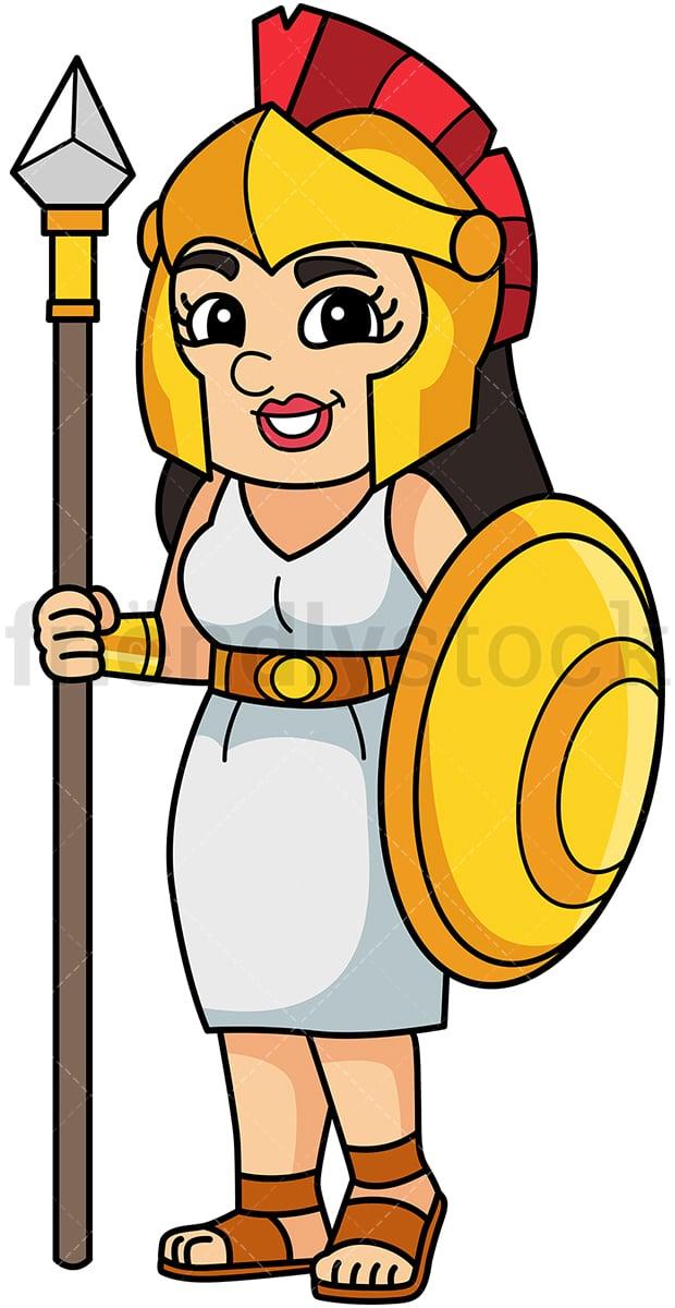 Athena Greek Goddess Cartoon Vector Clipart - FriendlyStock