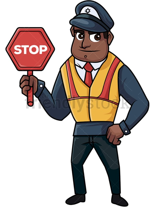 Black policeman holding stop sign. PNG - JPG and vector EPS file formats (infinitely scalable). Image isolated on transparent background.