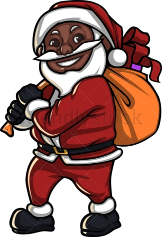 Smiling black santa claus with gift bag. PNG - JPG and vector EPS (infinitely scalable). Image isolated on transparent background.