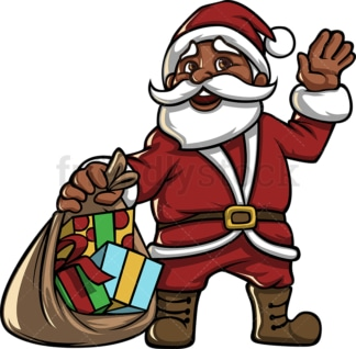 Black santa claus with gift sack. PNG - JPG and vector EPS file formats (infinitely scalable). Image isolated on transparent background.