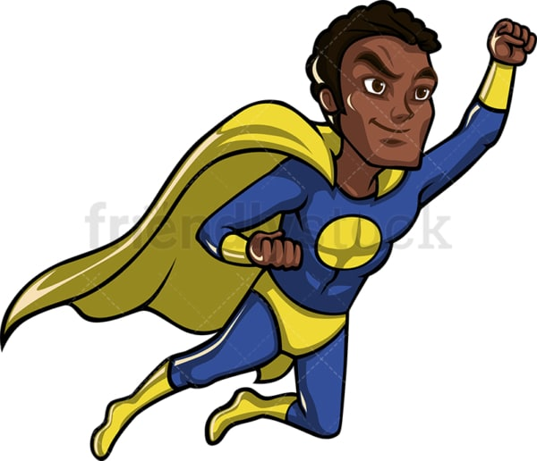 Flying black superhero with cape. PNG - JPG and vector EPS file formats (infinitely scalable). Image isolated on transparent background.